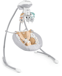 Fisher-Price Fawn Meadows Deluxe Cradle 'n Swing, dual motion baby swing with music, sounds, and motorized mobile